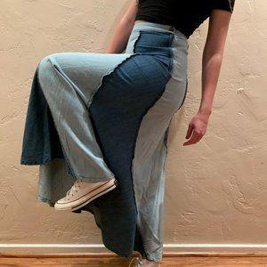 Rare ✌️ Vintage Maxi Denim Patch Festival Skirt